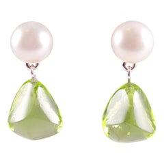 Tiffany & Co. Pearl and Peridot Drop Earrings