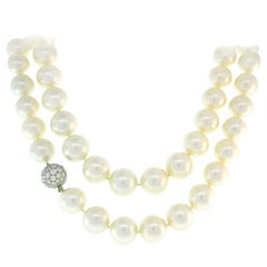 Tiffany & Co. Pearl Strand Necklace with Diamond Platinum Clasp, Opera Length