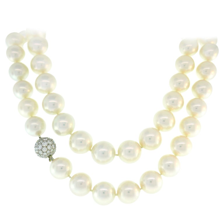 Tiffany & Co. Pearl Strand Necklace with Diamond Platinum Clasp, Opera Length For Sale