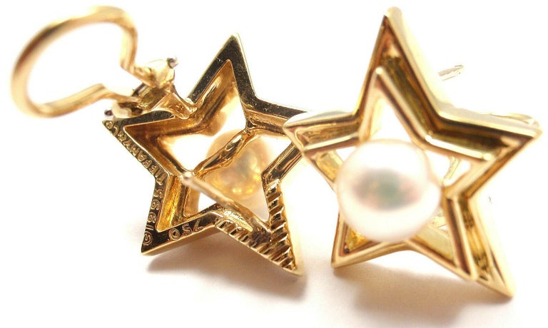 Bead Tiffany & Co. Pearl Yellow Gold Star Earrings For Sale