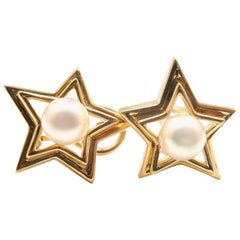 Tiffany & Co. Pearl Yellow Gold Star Earrings