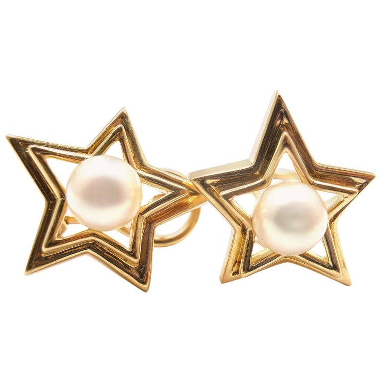 Tiffany & Co. Pearl Yellow Gold Star Earrings For Sale