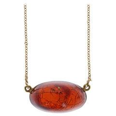 Tiffany & Co Peretti 18 Karat Yellow Gold and Amber Pendant Necklace