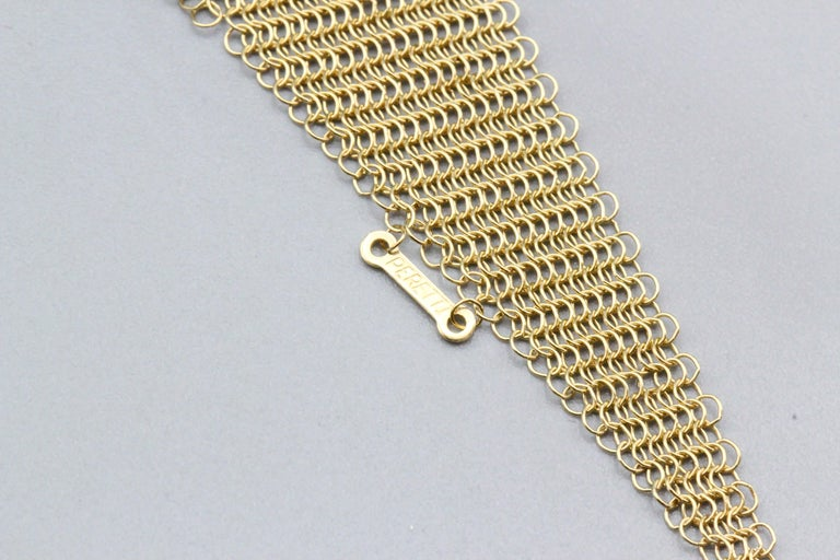 Tiffany & Co. Peretti 18 Karat Yellow Gold Mesh Scarf Necklace For Sale 2