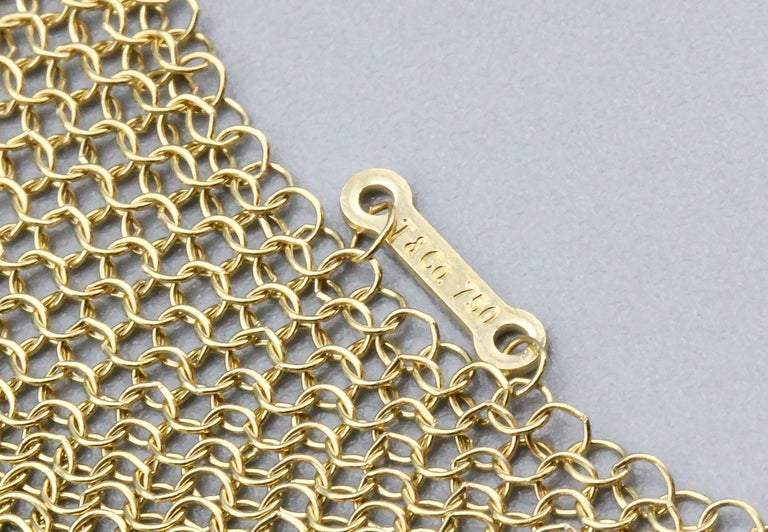Tiffany & Co. Peretti 18 Karat Yellow Gold Mesh Scarf Necklace For Sale 3