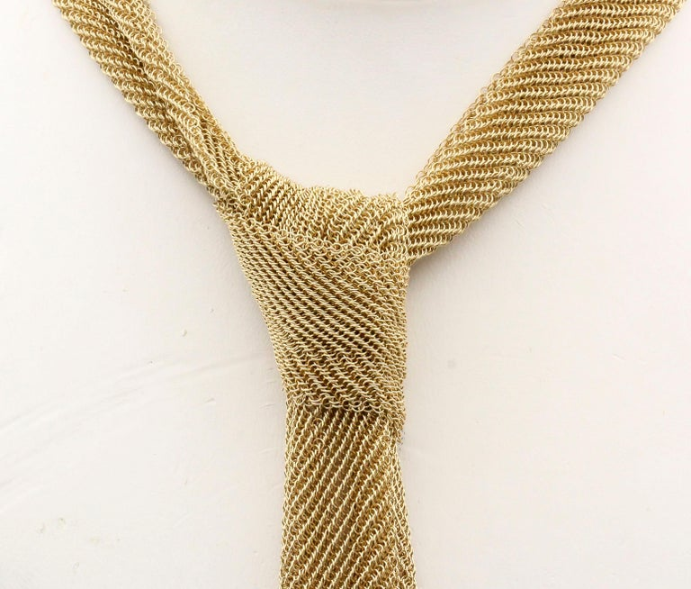 Tiffany & Co. Peretti 18 Karat Yellow Gold Mesh Scarf Necklace In Excellent Condition For Sale In New York, NY