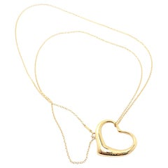 Tiffany & Co. Peretti Extra Large Open Heart Yellow Gold Pendant Necklace