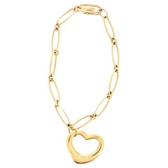 Tiffany & Co. Peretti Open Heart Charm Bracelet 18 Karat Yellow Gold