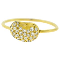 Tiffany & Co. Peretti Pave Diamond Flex Bean 18 Karat Yellow Gold Ring