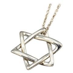 Tiffany & Co. Peretti Sterling Silver Star of David Pendant Necklace