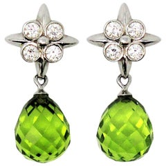 Tiffany & Co. Peridot Briolette Drop Lace Earrings with Diamonds in Platinum