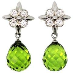 Tiffany & Co. Peridot Briolette Drop Lace Earrings with Diamonds in Platinum
