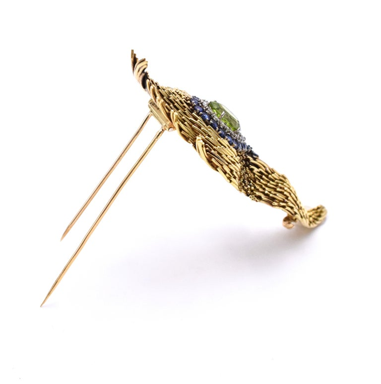 Tiffany & Co. Peridot Feather Brooch In Excellent Condition For Sale In New York, NY