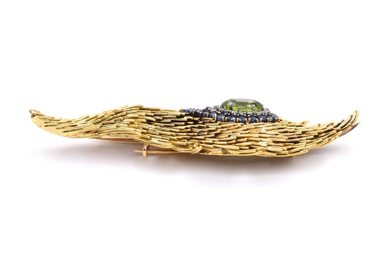 Women's or Men's Tiffany & Co. Peridot Feather Brooch For Sale