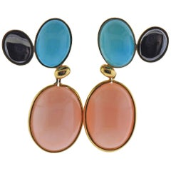 Tiffany & Co Picasso Coral Turquoise Hematite Gold Earrings