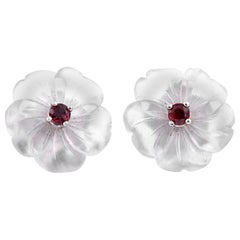 Tiffany & Co. Picasso Crystal with Ruby Stud Earrings