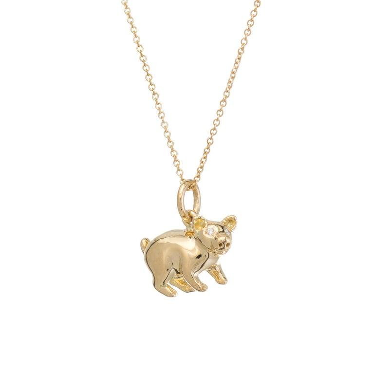 Modern Tiffany & Co. Pig Charm Pendant Diamond 18 Karat Gold Necklace Estate Jewelry For Sale