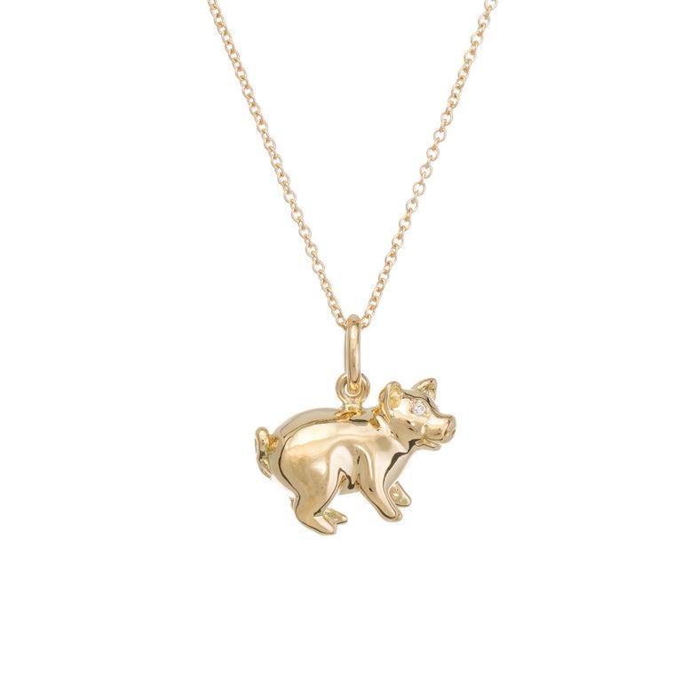 Tiffany & Co. Pig Charm Pendant Diamond 18 Karat Gold Necklace Estate Jewelry For Sale