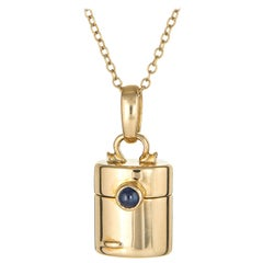 Tiffany & Co. Pillbox Charm Necklace Vintage 18 Karat Gold Secret Compartment