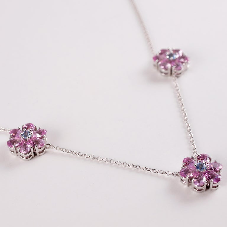 Tiffany & Co. Pink and Blue Sapphire Necklace For Sale 6