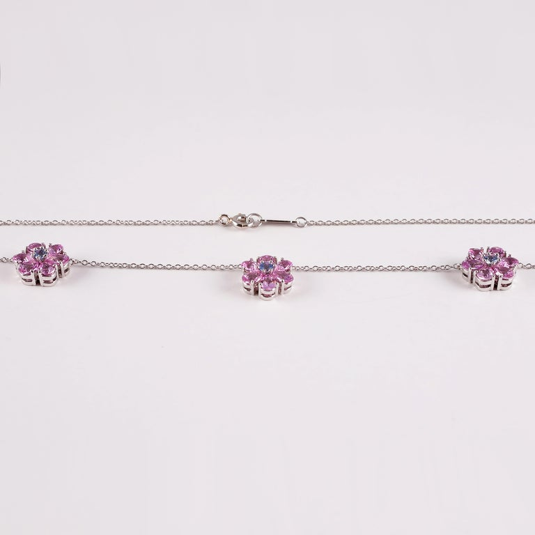 Tiffany & Co. Pink and Blue Sapphire Necklace In Good Condition For Sale In Dallas, TX