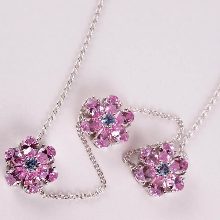 Tiffany & Co. Pink and Blue Sapphire Necklace For Sale 2