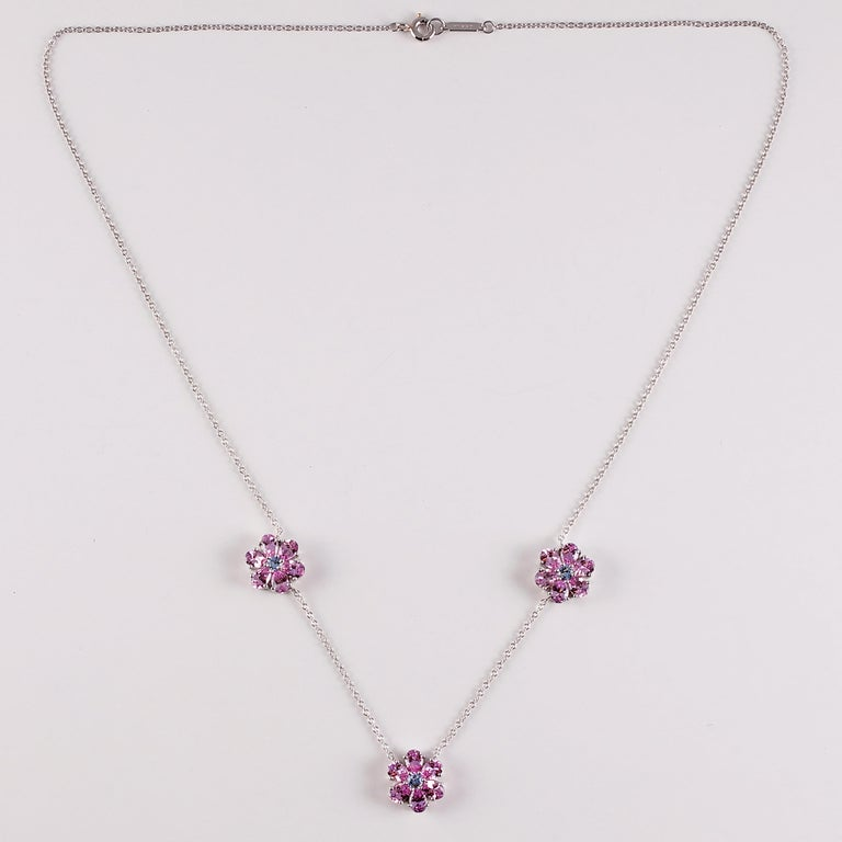 Tiffany & Co. Pink and Blue Sapphire Necklace For Sale 3