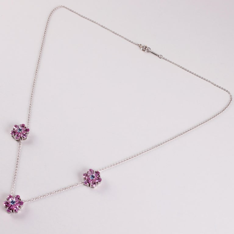 Tiffany & Co. Pink and Blue Sapphire Necklace For Sale 4
