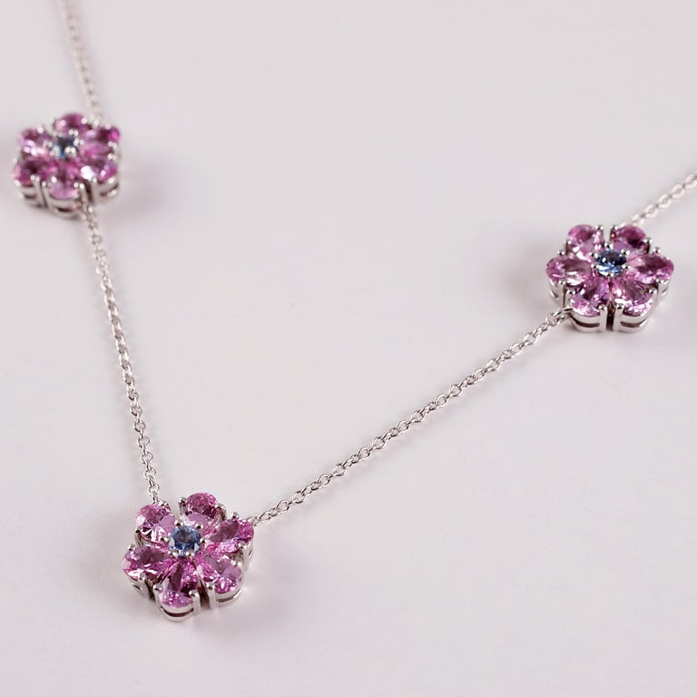 Tiffany & Co. Pink and Blue Sapphire Necklace For Sale 5