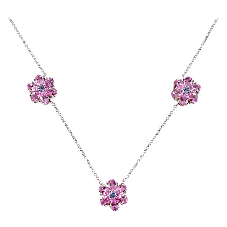 Tiffany & Co. Pink and Blue Sapphire Necklace For Sale
