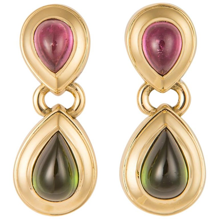 Tiffany & Co. Pink and Green Tourmaline Earrings For Sale