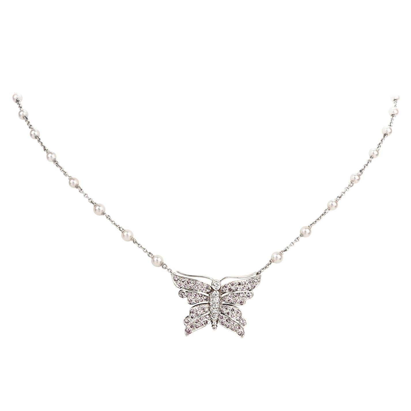 Tiffany & Co. Pink Diamond and Akoya Pearl Butterfly Pendant Necklace