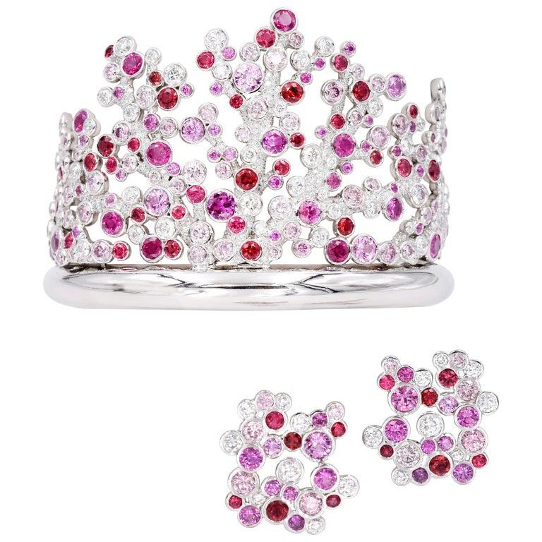 Tiffany & Co. Pink Diamond, Sapphire Bracelet or Earrings For Sale