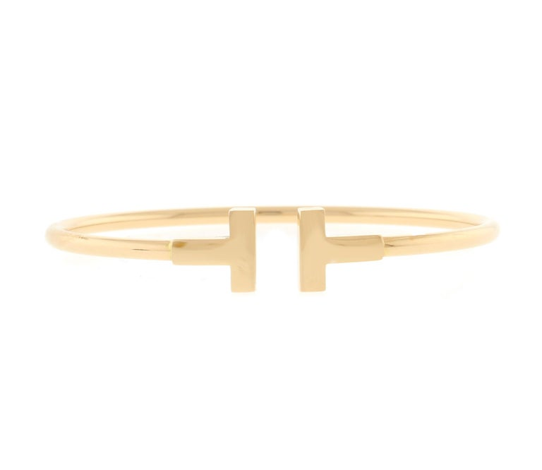 Tiffany & Co. Pink Gold Wire T Bracelet In Excellent Condition For Sale In Bethesda, MD