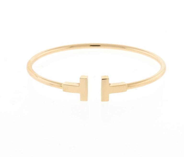Women's or Men's Tiffany & Co. Pink Gold Wire T Bracelet For Sale