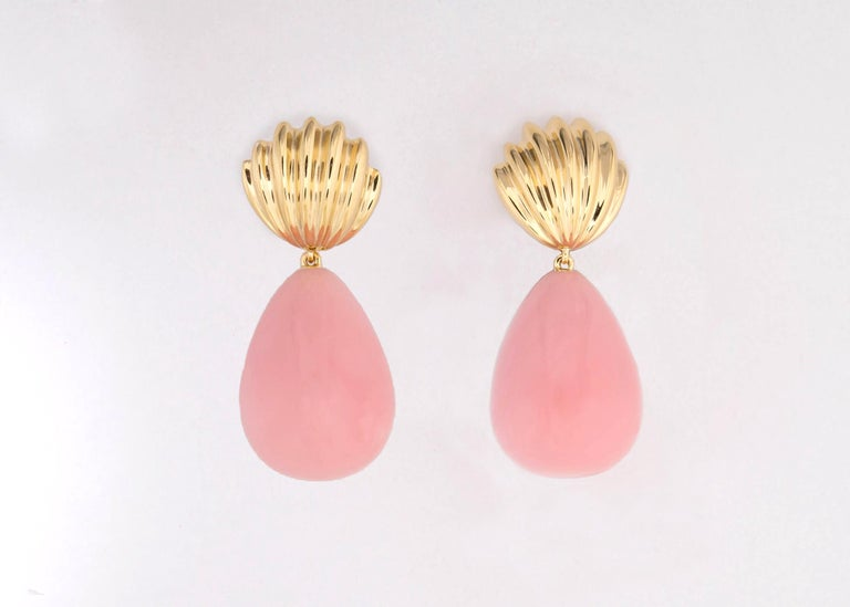 Contemporary Tiffany & Co. Pink Opal Drop Earrings For Sale
