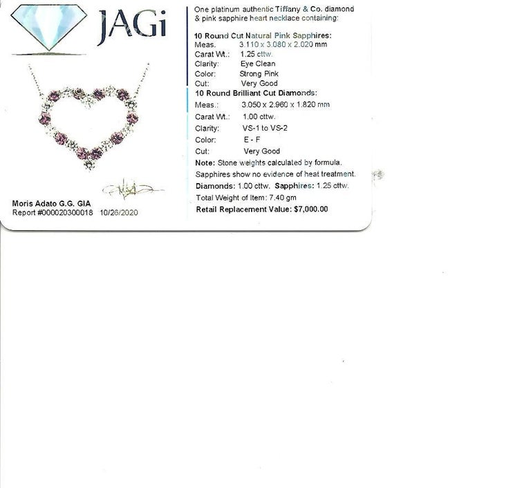 Tiffany & Co. Pink Sapphire and Diamond Open Heart Necklace in Platinum For Sale 5