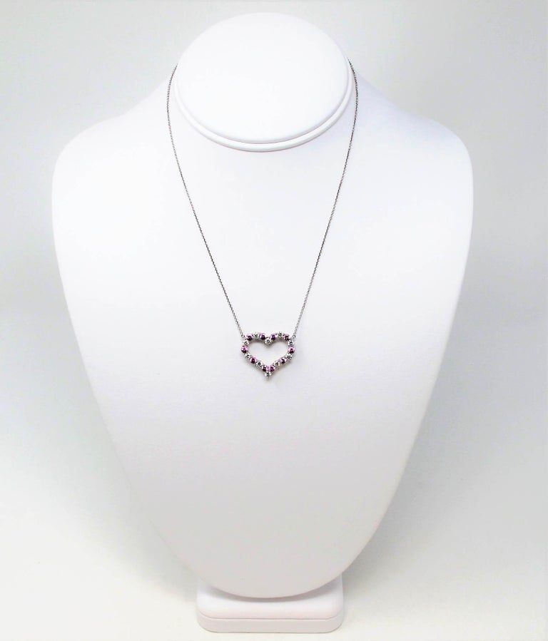 Round Cut Tiffany & Co. Pink Sapphire and Diamond Open Heart Necklace in Platinum For Sale