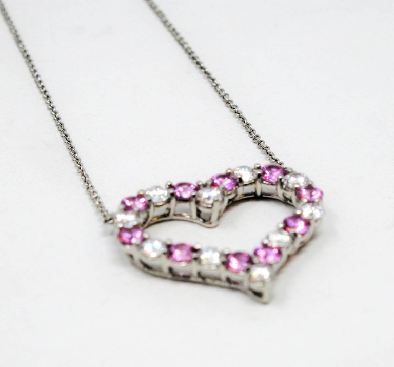 Tiffany & Co. Pink Sapphire and Diamond Open Heart Necklace in Platinum In Good Condition For Sale In Scottsdale, AZ