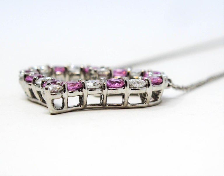 Women's Tiffany & Co. Pink Sapphire and Diamond Open Heart Necklace in Platinum For Sale