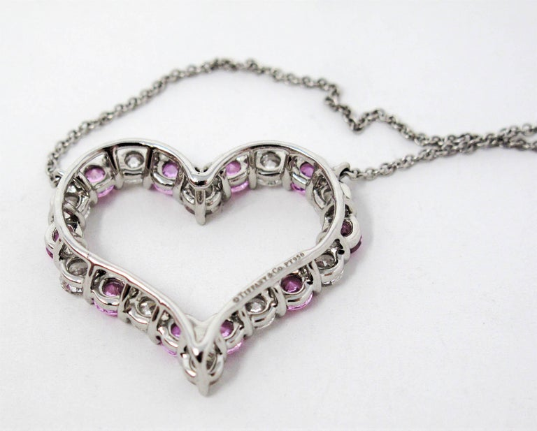 Tiffany & Co. Pink Sapphire and Diamond Open Heart Necklace in Platinum For Sale 2