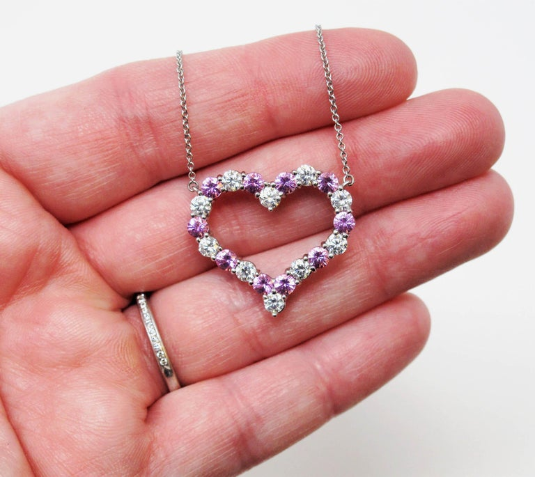 Tiffany & Co. Pink Sapphire and Diamond Open Heart Necklace in Platinum For Sale 3