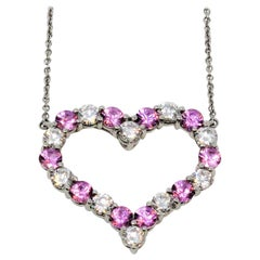 Tiffany & Co. Pink Sapphire and Diamond Open Heart Necklace in Platinum