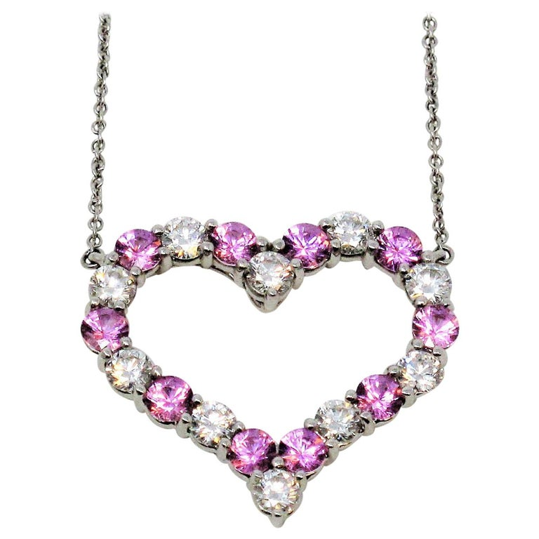 Tiffany & Co. Pink Sapphire and Diamond Open Heart Necklace in Platinum For Sale