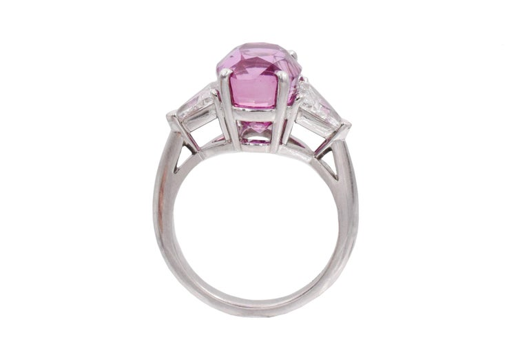 Cushion Cut Tiffany & Co. Pink Sapphire and Diamond Ring For Sale