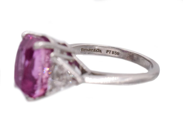 Tiffany & Co. Pink Sapphire and Diamond Ring In Excellent Condition For Sale In New York, NY
