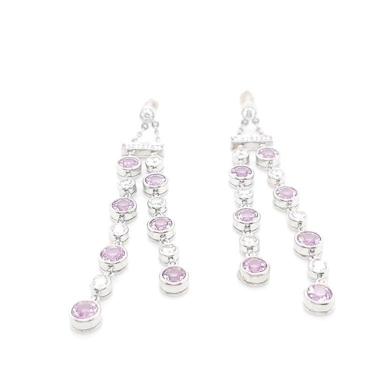 Round Cut Tiffany & Co. Pink Sapphire Diamond Jazz Earrings For Sale