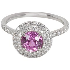 Tiffany & Co. Pink Soleste Sapphire Diamond Engagement Ring in Platinum 0.36Ct