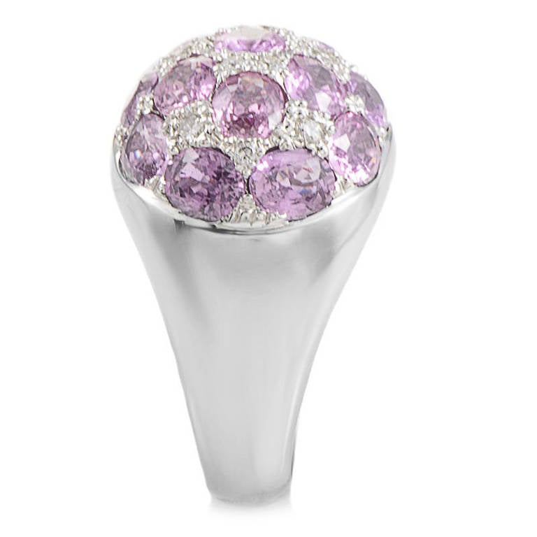 Tiffany & Co. Pink Tourmaline Diamond White Gold Dome Ring In Excellent Condition For Sale In Southampton, PA