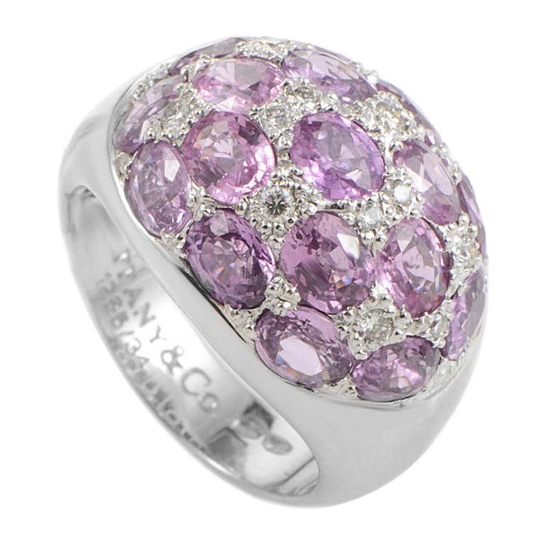 Tiffany & Co. Pink Tourmaline Diamond White Gold Dome Ring For Sale